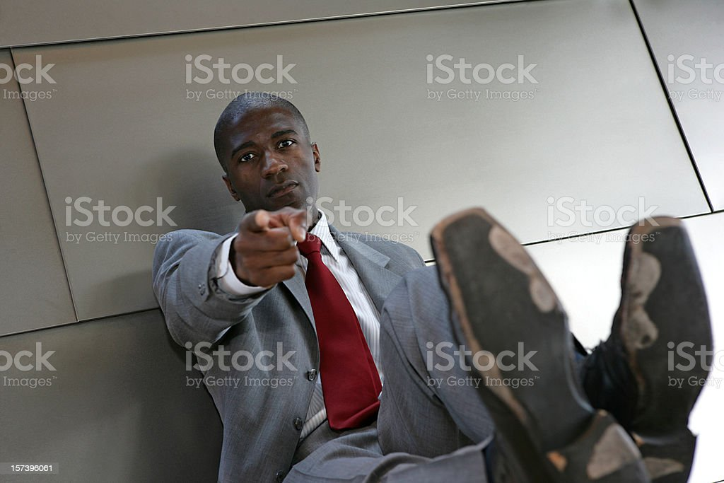 Weary Job Seeker Pointing Finger royalty-free stock photo