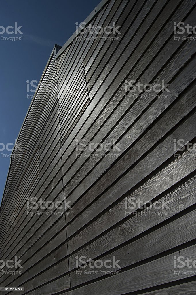 Weather Boarding on Fisherman's Shed in Colour stock photo