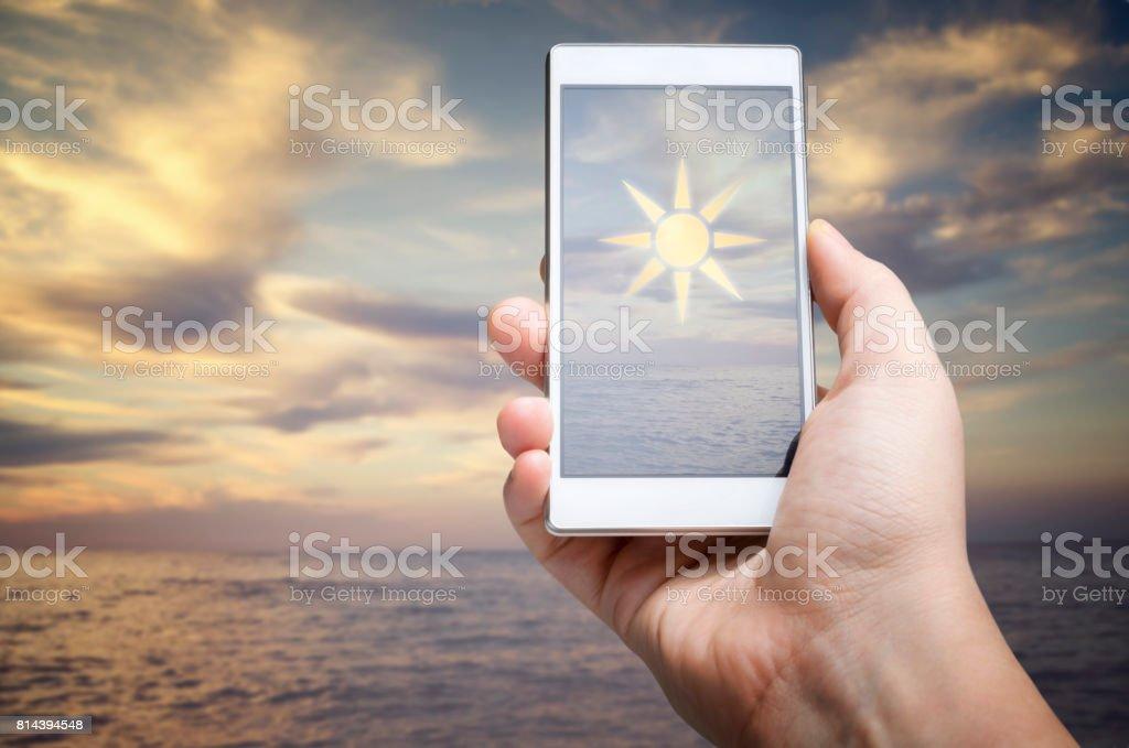 Weather forecast app stock photo