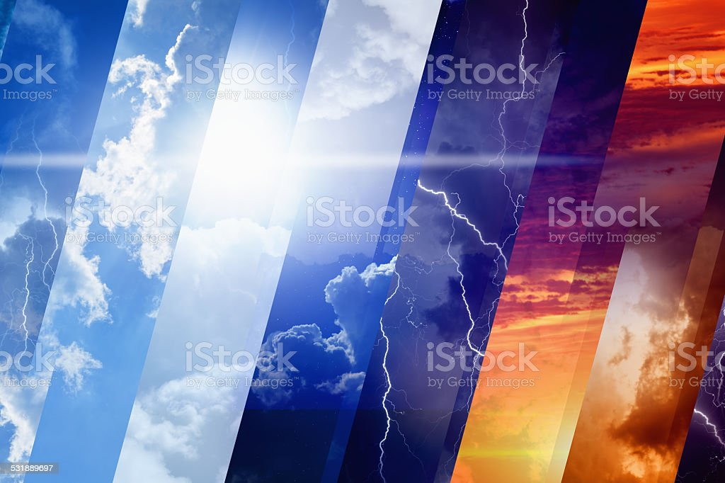 Weather forecast concept background - variety weather conditions,...