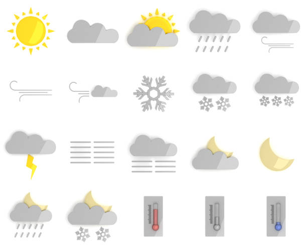 3D Weather forecast icons stock photo