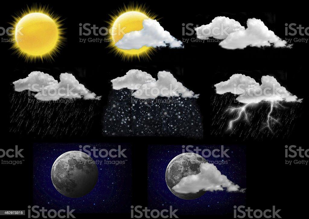 weather forecast icons stock photo