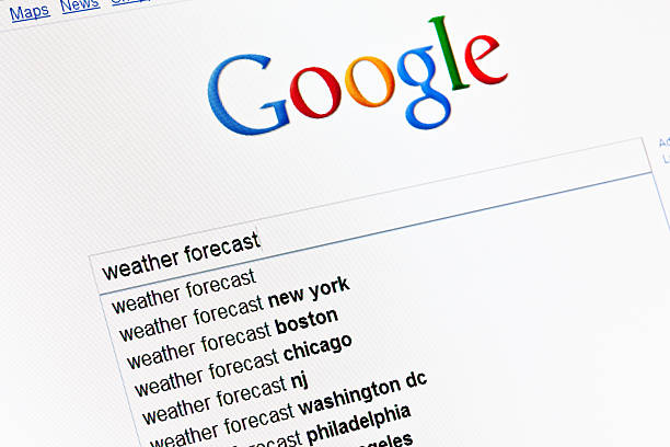 Weather forecast in google search field. Kyiv, Ukraine - March 13, 2011: Weather forecast string in search field on main google page. Google propose most popular searches as pop-up list. Google is the most powerfull search engine in the internet now. google stock pictures, royalty-free photos & images