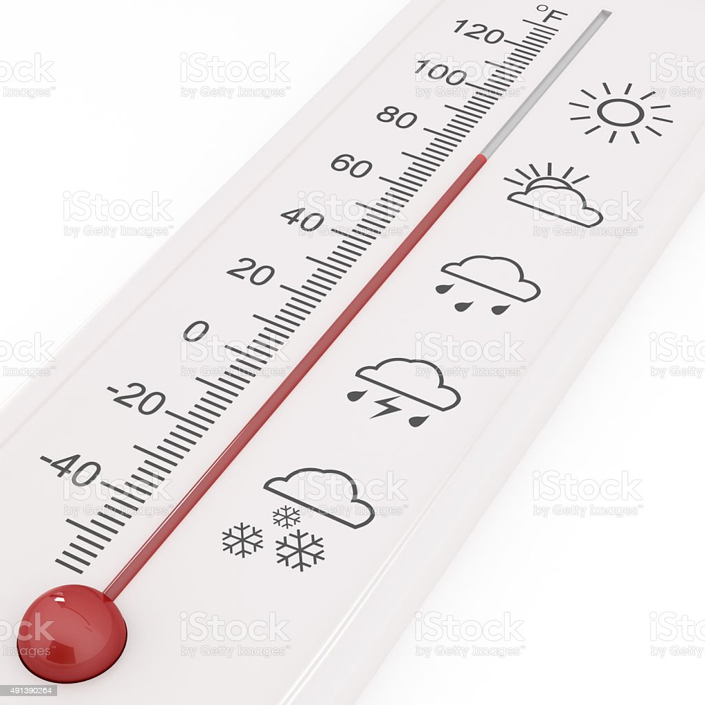 Weather forecast, meteorology icon on thermometer stock photo