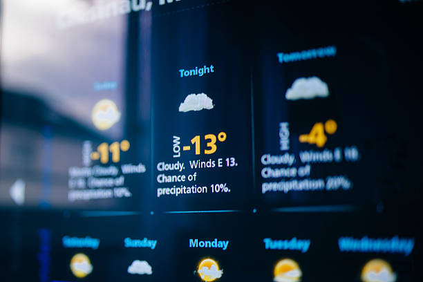 weather forecast on a digital display - weather stock photos and pictures