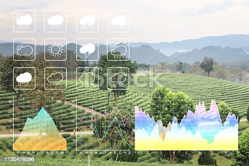 Weather forecast symbol data presentation with graph and chart on freshness clean nature green morning background.