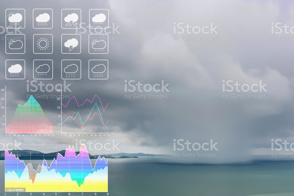 Weather forecast symbol data presentation with graph and chart on tropical storm background. Dramatic atmosphere panorama view of storm clouds and heavy rain storm on twilight tropical sky. stock photo