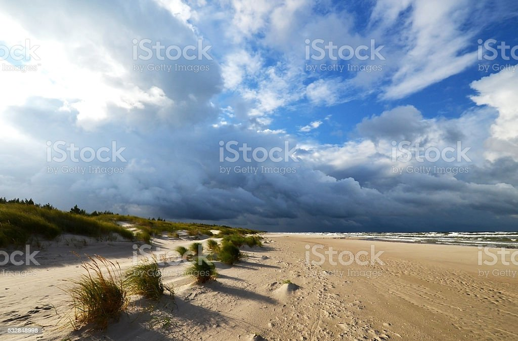 weather front at amber coast stock photo
