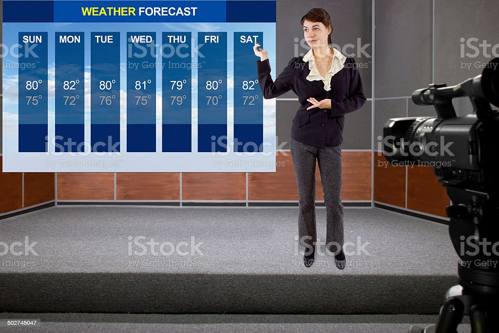 Weather Girl on Stage With Weather Forecast and Camera stock photo