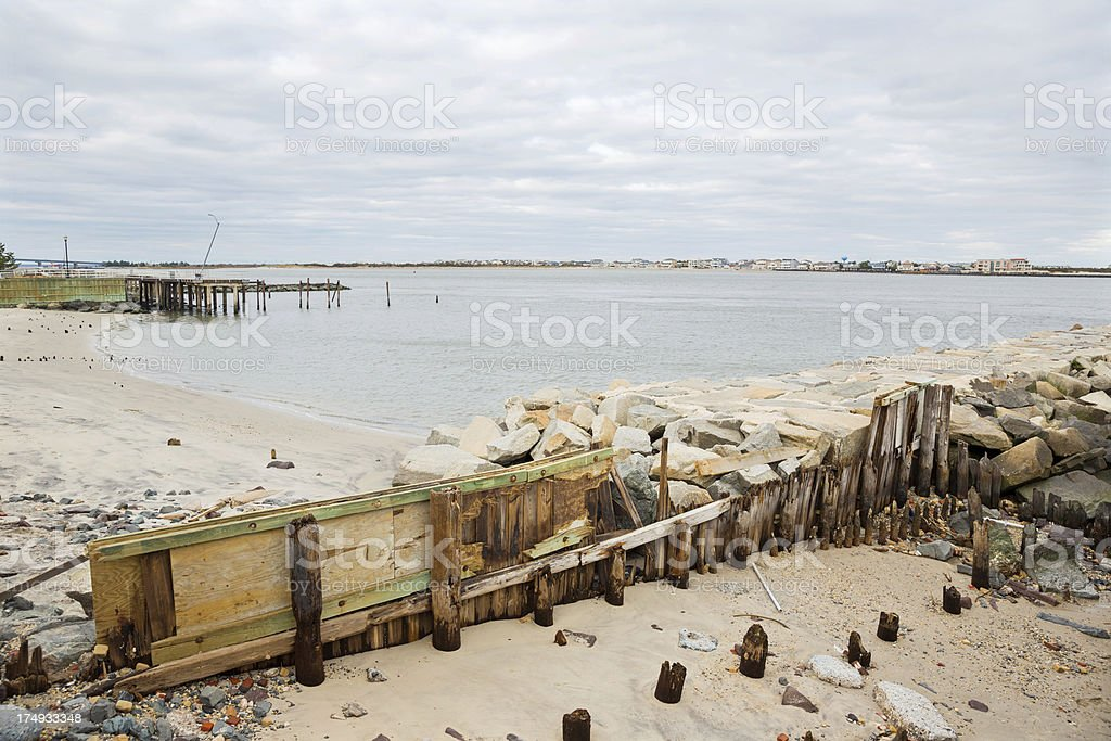 Picture taken after Hurricane Sandy. Damaged retaining wall.RMClick...