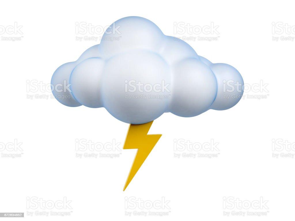 Weather icon  Lightning 3d rendering isolated illustration stock photo