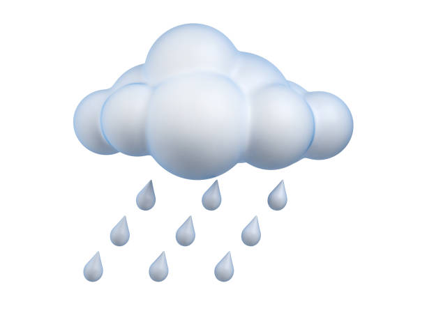 L'icône météo pluie rendu 3d isolé illustration - Photo