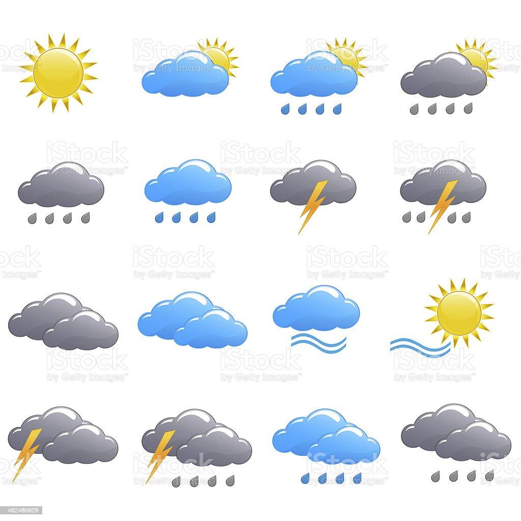 Weather icon set summer day stock photo