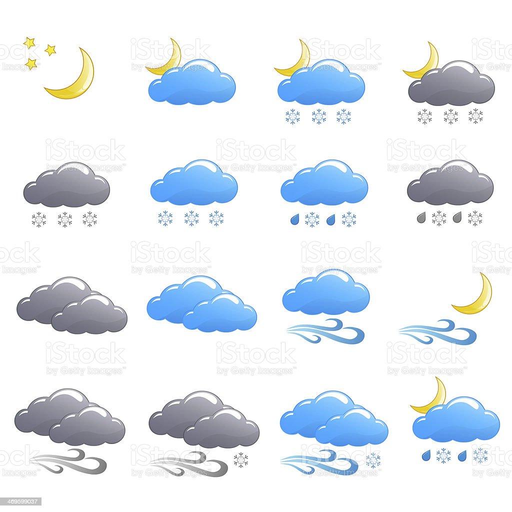 Weather icon set winter night stock photo