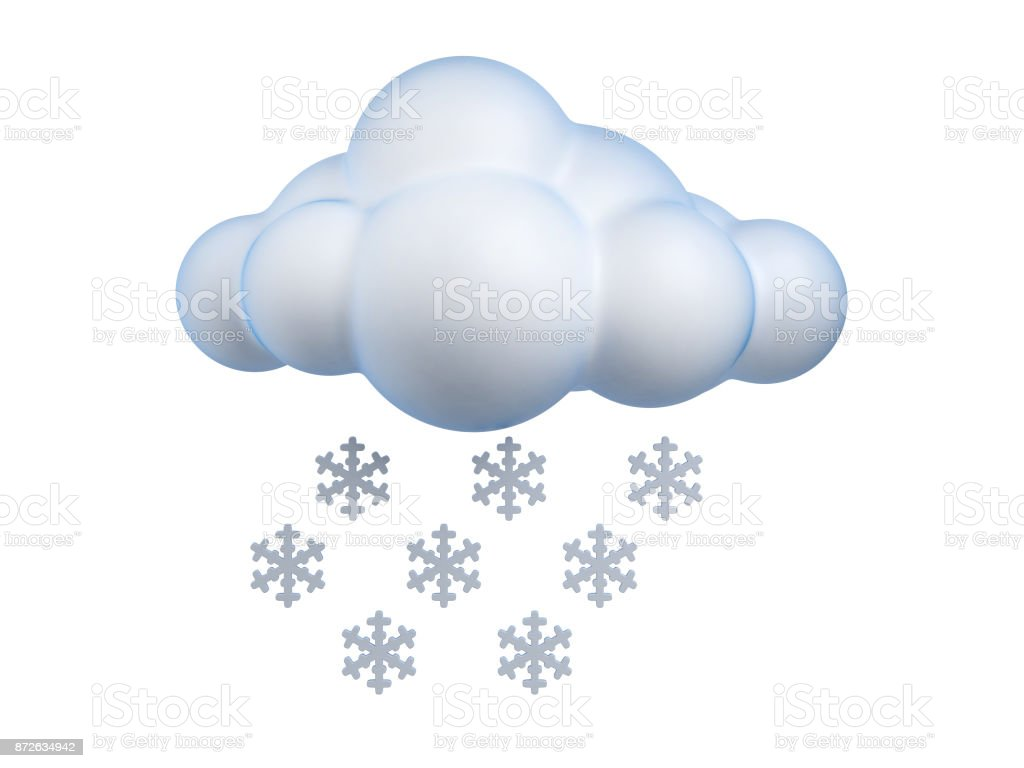 Weather icon Snow  3d rendering isolated illustration stock photo