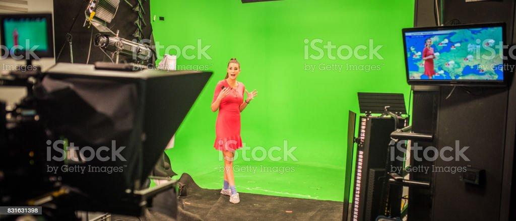 Weather presenter stock photo