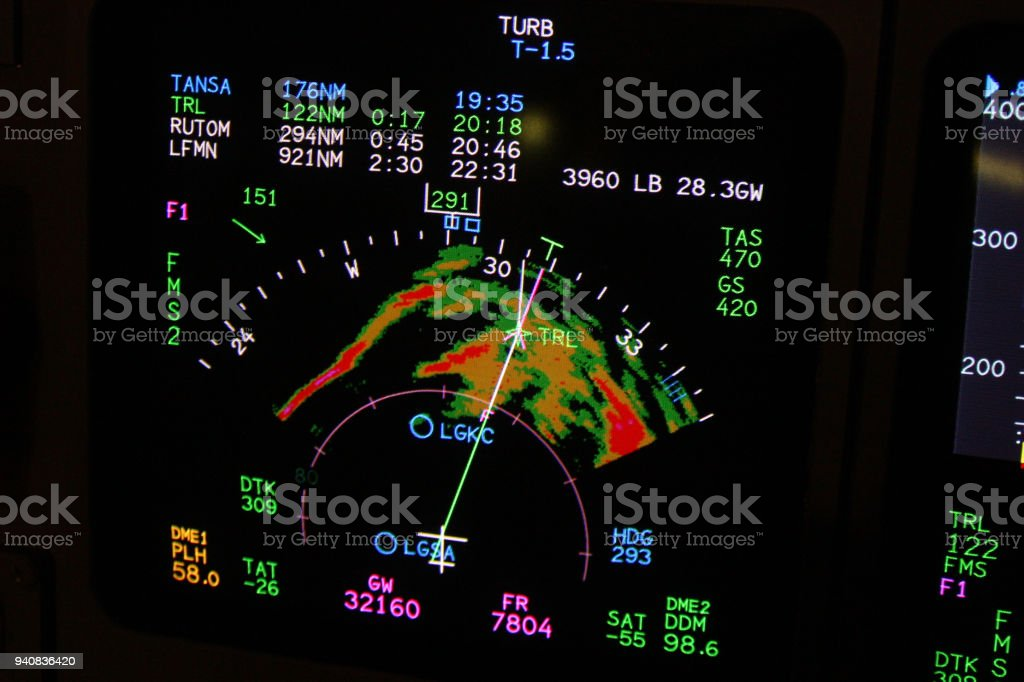 Weather Radar Showing A Severe Thunderstorm Cell In A Business Jet