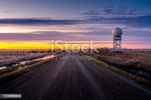 weather radar tower in sunset, SK, Canada.