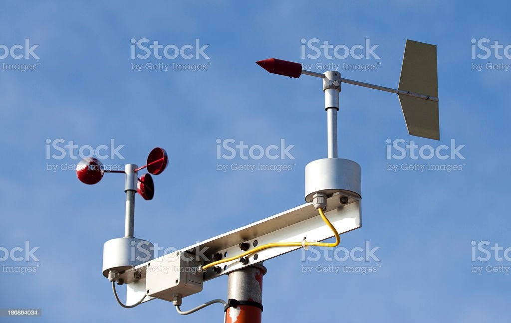 Weather station against blue sky royalty-free stock photo