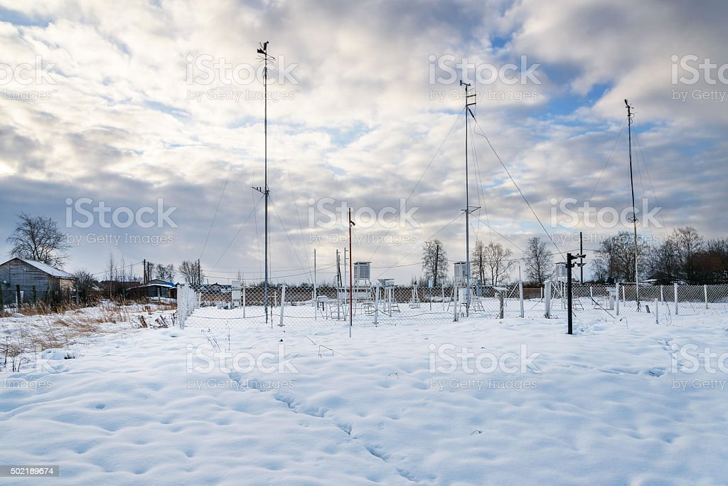 Weather station. General plan. Winter stock photo