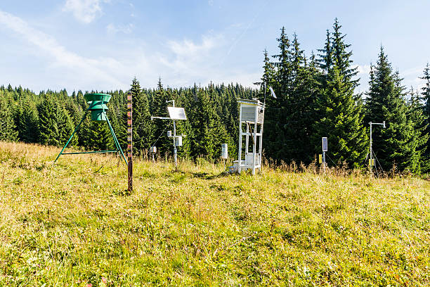 weather station  in the clearing. - rain gauge stock photos and pictures