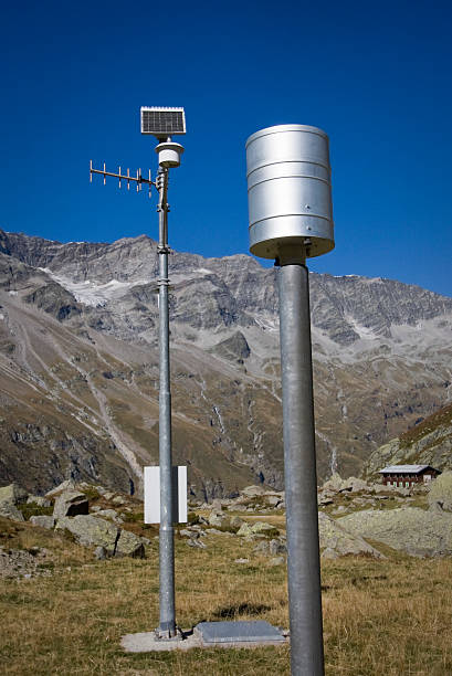 weather station on the alps - rain gauge stock photos and pictures