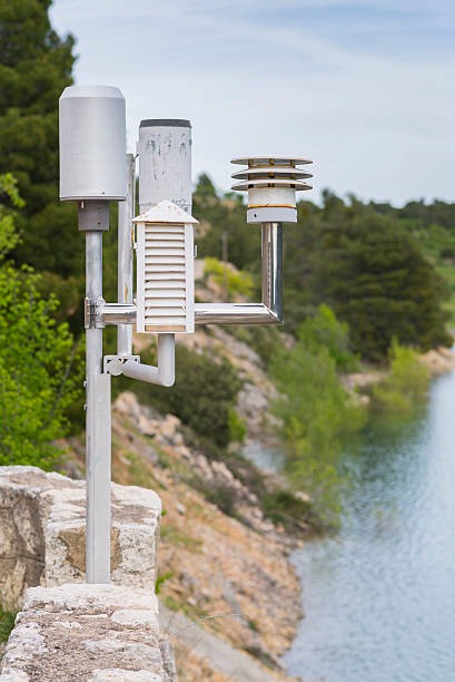 weather station. - rain gauge stock photos and pictures