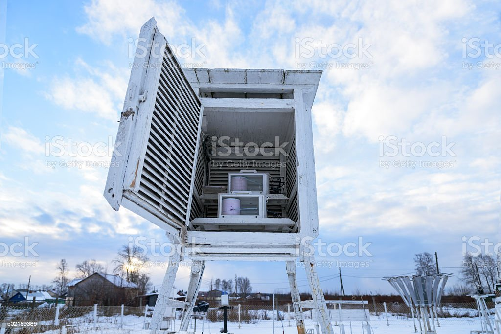 Weather station. Psychrometric booth with recorders - hygrographs and thermography stock photo
