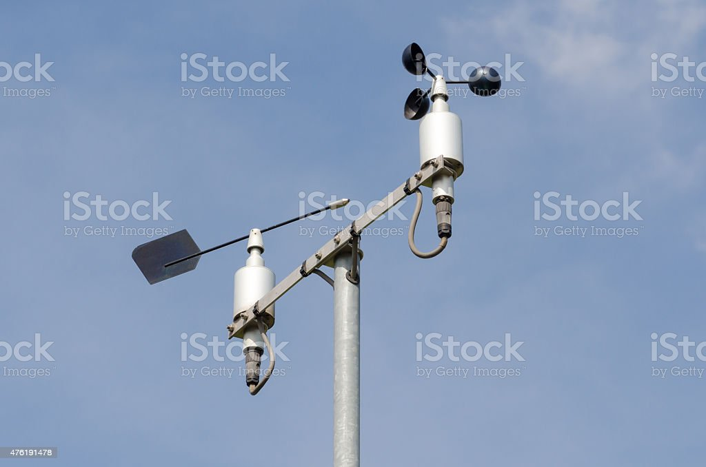 Weather station with anemometer stock photo