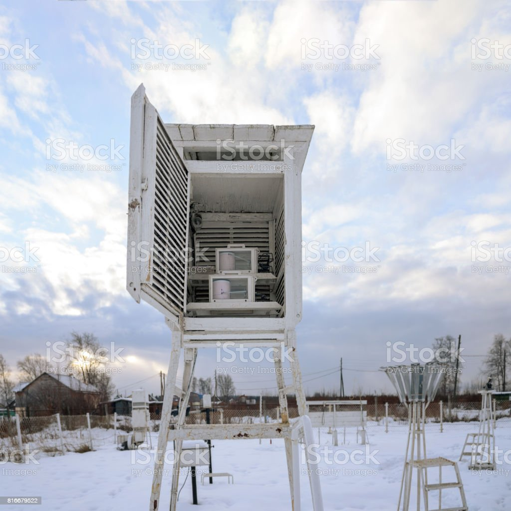 Weather station with recorders - hygrographs and thermography. Karelia, Russia stock photo