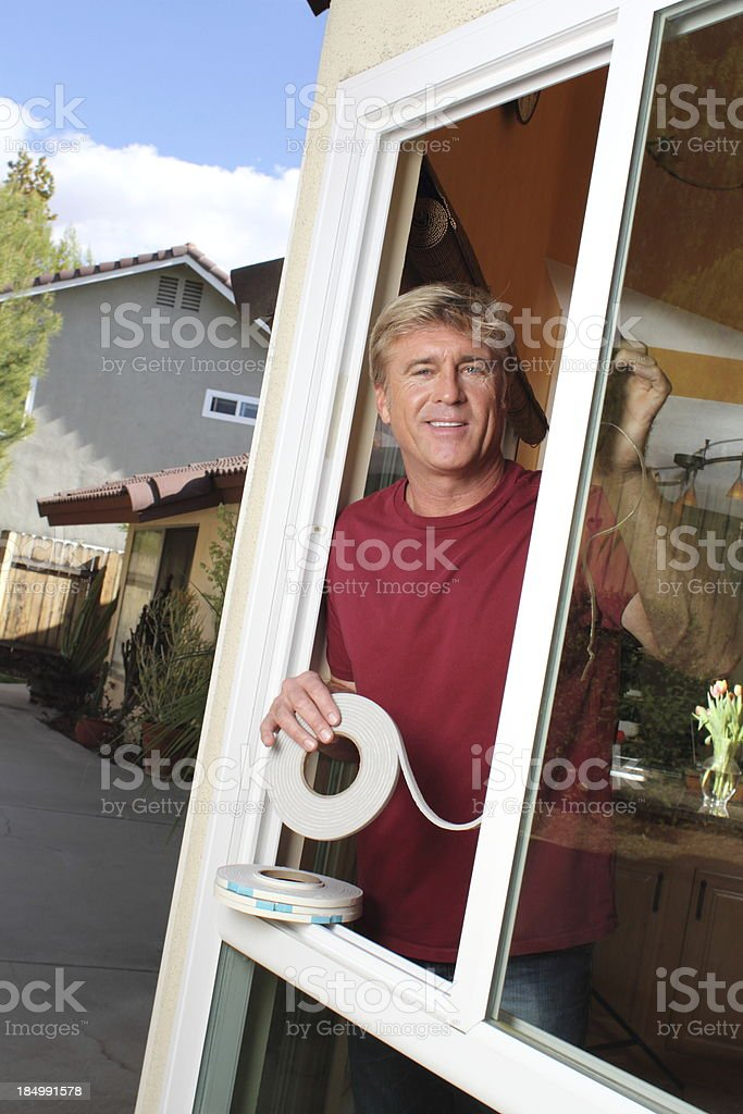Weather Stripping Man Big Smile stock photo