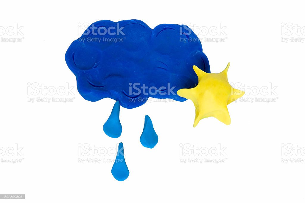 Weather Symbols Cloud With Rain Drops And Sun Stock Photo Istock