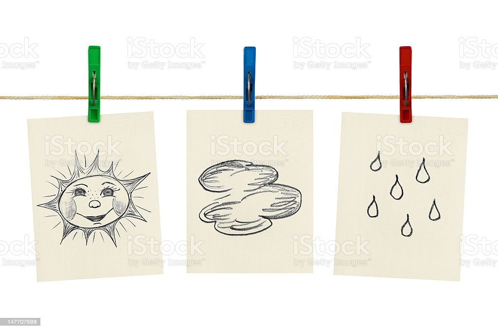 Weather symbols on clothespins royalty-free stock photo