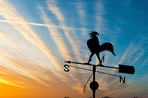 Weather vane Weather vane is instrument showing direction of wind - typically used as an architectural ornament to the highest point of a building weather vane stock pictures, royalty-free photos & images