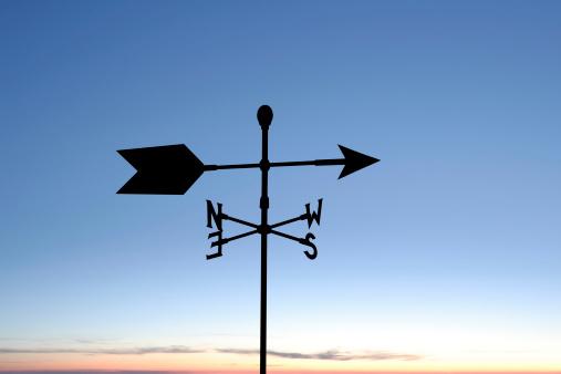 wind vane in silhouette at twilight (XXL)
