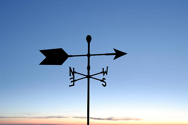XXL weather vane silhouette wind vane in silhouette at twilight (XXL) weather vane stock pictures, royalty-free photos & images