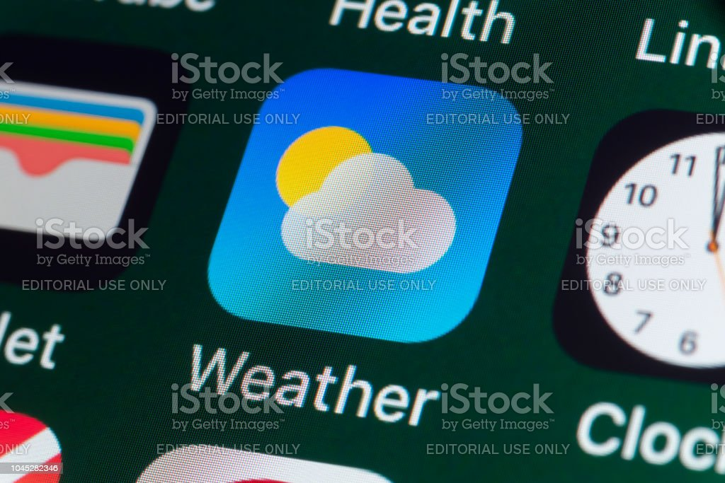 Weather Wallet Clock And Other Apps On Iphone Screen Stock