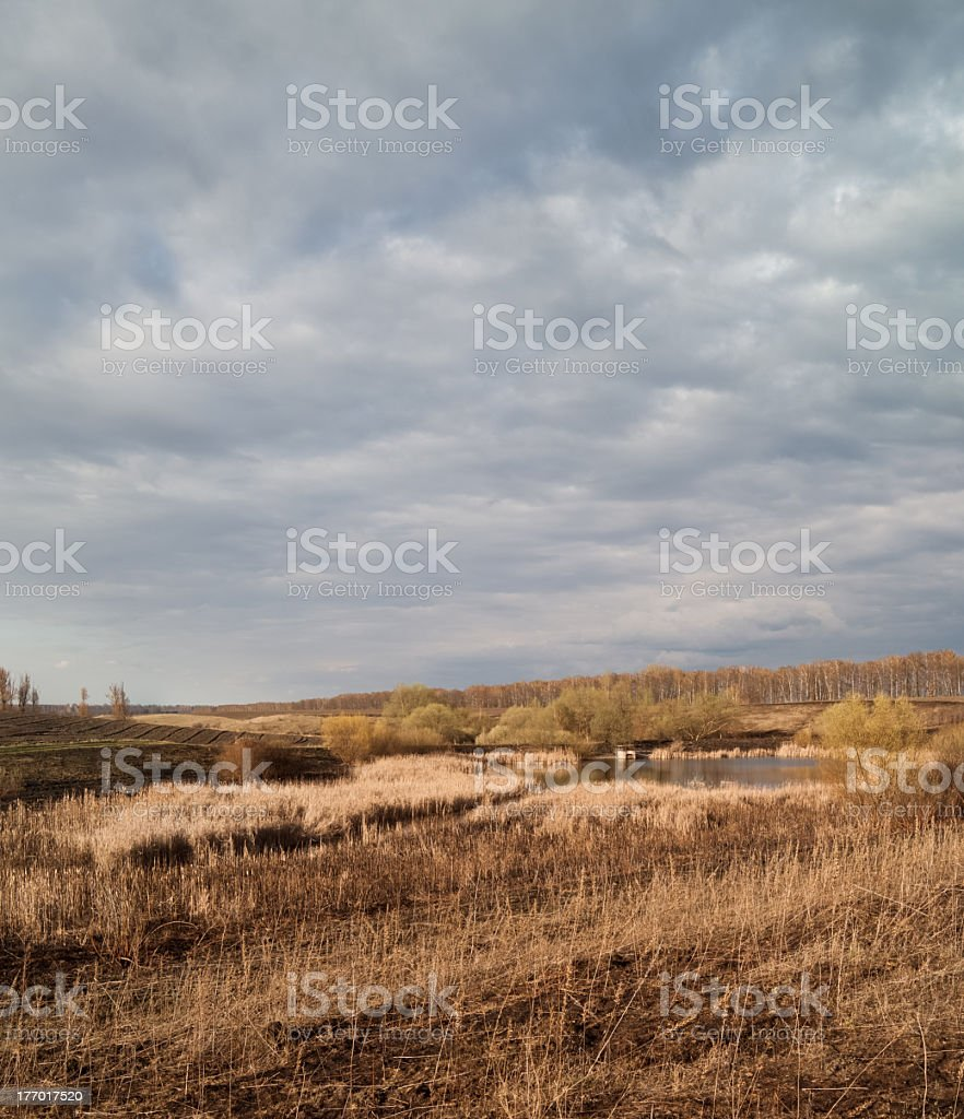 Weather worsens. April's landscape in the evening. royalty-free stock photo