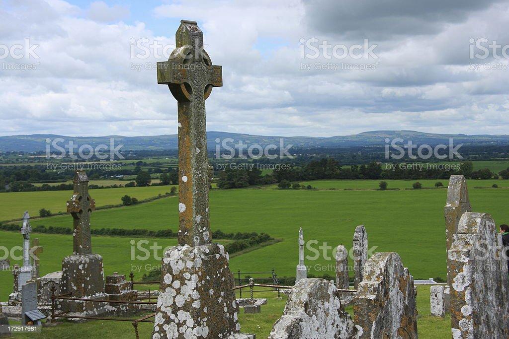 weatherbeaten celtic cross royalty-free stock photo