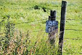 istock Weathered and Rustic Keep Out Message on an Old Fence Farm Gate 1149425839