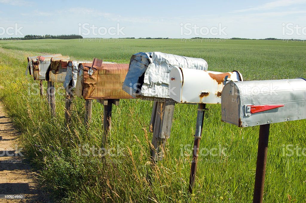 Weathered and Worn Rural Mailboxes stock photo