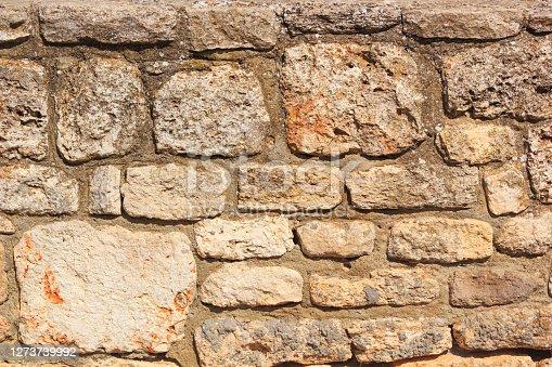 Weathered antique wall, byzantine ancient stonework, horizontal grunge background, the Black Sea coast of Bulgaria