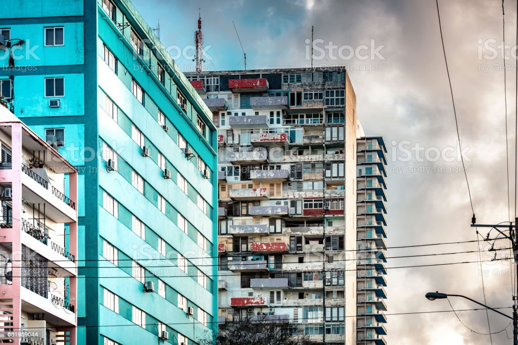 weathered apartment houses of epoque of socialist architecture stock photo