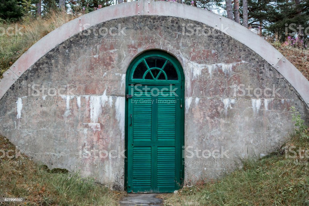 A weathered arched outdoor concrete underground cellar with green wooden door. stock photo