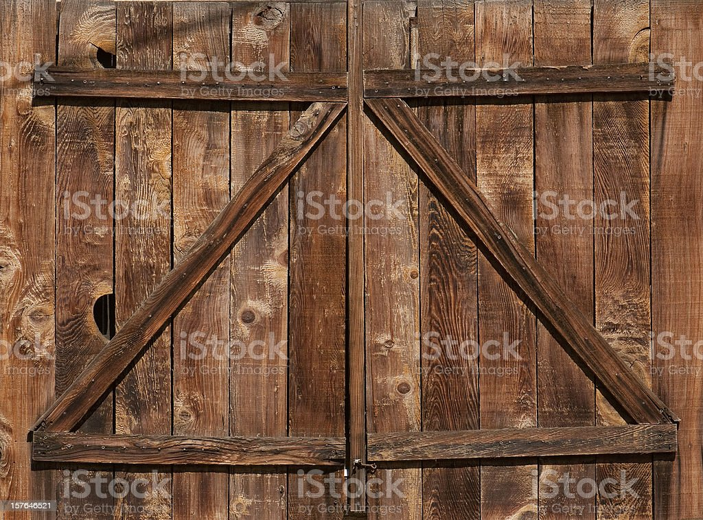 Weathered Barn Door stock photo