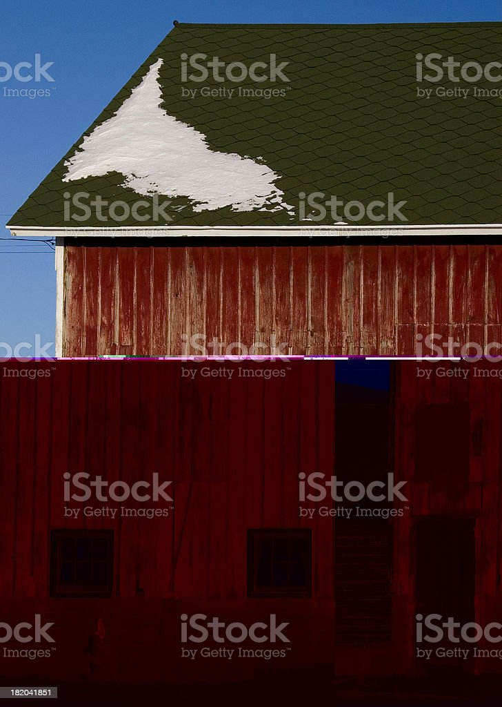 weathered barn on sunny winter day royalty-free stock photo