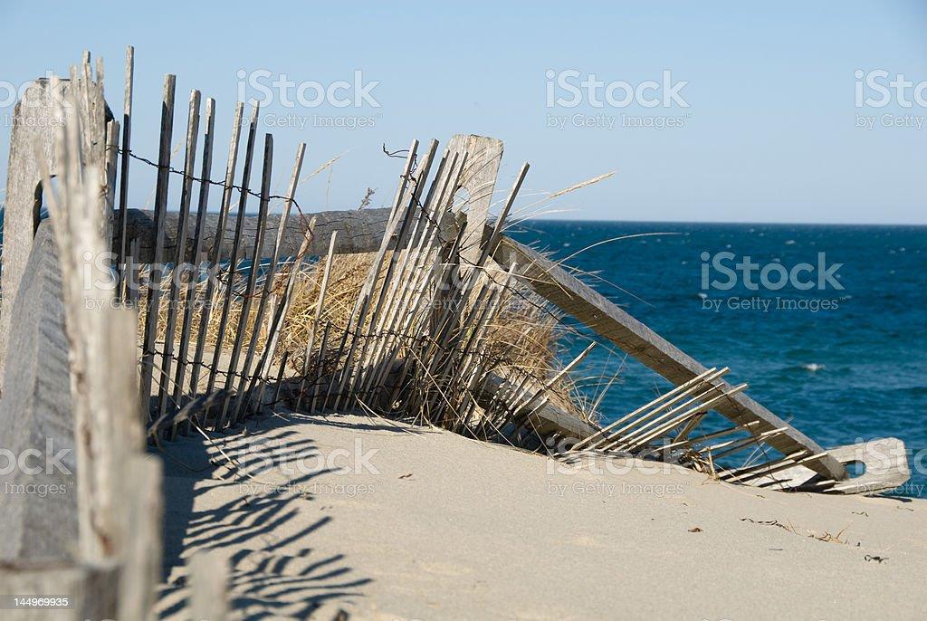Weathered Beach Fence stock photo