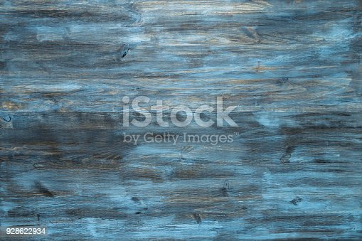Blue stained wood texture background with a worn distressed effect. Use this weathered wooden textured material as design asset for a wall, floor boards, wallpaper, table surface or abstract backdrop.