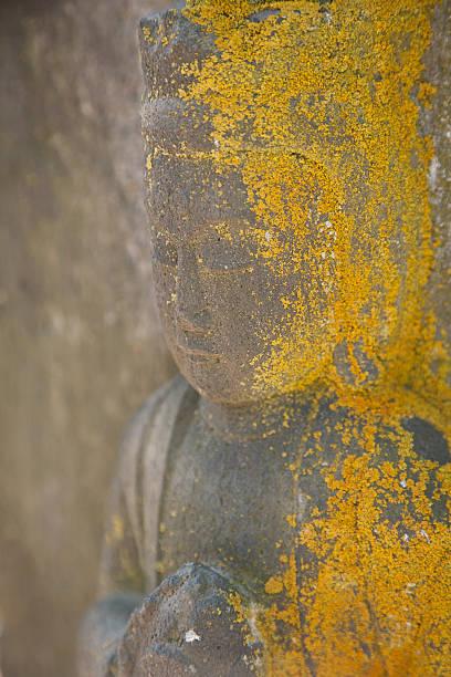 weathered buddha with moss stock photo