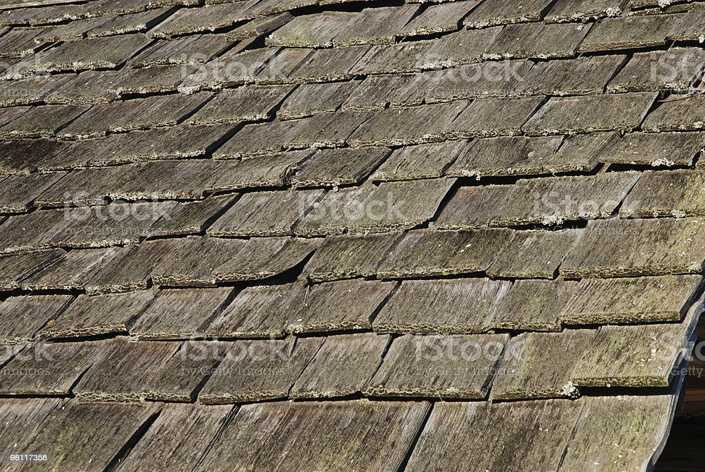 Weathered Cedar Shake Roof Background royalty-free stock photo